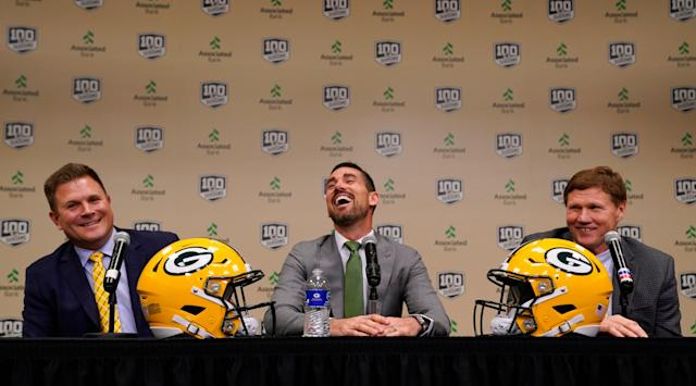 Packers head coach Matt LaFleur (middle) is now charged with keeping Aaron Rodgers happy, along with general manager Brian Gutekunst (left) and team president and CEO Mark Murphy. (AP)