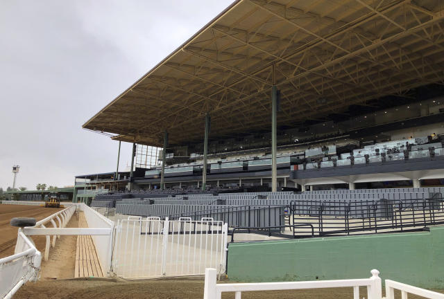 Renovated Finish Line Suites are seen ahead of opening day of the fall meeting at Santa Anita Park in Arcadia, Calif., Friday, Sept. 27, 2019. Horse racing has returned to Santa Anita with the opening of its fall meet amid intense scrutiny after the deaths of 31 horses at the historic track earlier in the year. There were no incidents during morning training hours or through the first three races Friday. The nine-race card includes three graded stakes races, with two of those winners earning automatic berths in the Breeders' Cup this fall at Santa Anita. (AP Photo/Beth Harris)