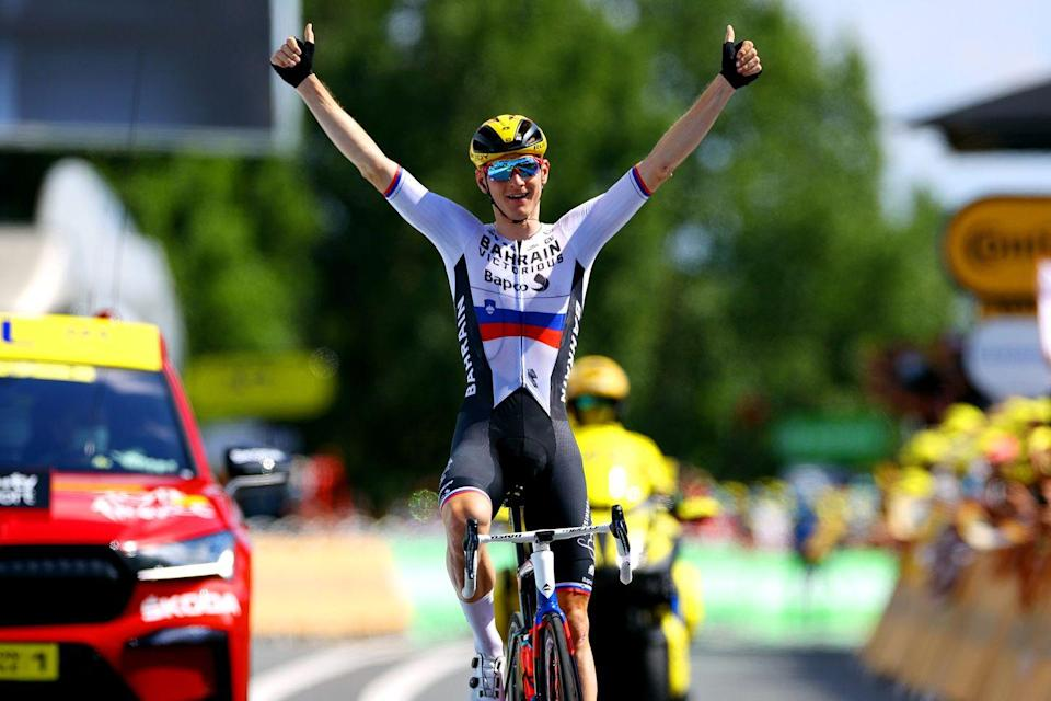 """<p><strong>Who's Winning the Tour?</strong></p><p>On a day that looked like a sprint finish on paper, the pack was instead entirely content to let a breakaway duke it out for the stage win and take an """"active rest day"""" ahead of Stage 20's individual time trial. It took a bit for the right mix of riders to emerge, but once it did, the gap quickly went out to over 10 minutes, and it was clear there would be no chase. </p><p>Matej Mohorič (Bahrain-Victorious) attacked the break with 25km to go and soloed to the win in Libourne. Yellow-jersey wearer Tadej Pogačar (UAE-Emirates) enjoyed a quiet and mostly uneventful day ahead of the time trial and has two days to go to seal his almost-assured victory.</p><p><strong>Who's Really Winning the Tour?</strong></p><p>Few teams have had a Tour that's been as up-and-down as Bahrain-Victorious. They lost their likely GC rider, Jack Haig, to an early stage crash, then rebounded to win two consecutive stages in the Alps. Then, just two days ago, <a href=""""https://www.bicycling.com/tour-de-france/a37034833/bahrain-victorious-anti-doping-raid-tour-de-france/"""" rel=""""nofollow noopener"""" target=""""_blank"""" data-ylk=""""slk:French police searched their hotel rooms in a doping investigation"""" class=""""link rapid-noclick-resp"""">French police searched their hotel rooms in a doping investigation</a>. On the heels of that, Mohorič, who's been one of the strongest breakaway riders this Tour, emerged with a solo stage win sealed with a provocative victory salute: a finger held to his lips followed by a zipping motion.</p><p>That gesture has a problematic history in the sport; Lance Armstrong used it in 2004 after <a href=""""https://www.bicycling.com/racing/a20015941/2004-tour-de-france-armstrong-and-simeoni-have-words/"""" rel=""""nofollow noopener"""" target=""""_blank"""" data-ylk=""""slk:chasing down Filippo Simeoni"""" class=""""link rapid-noclick-resp"""">chasing down Filippo Simeoni</a>, who had accused Armstrong's longtime coach, Michele Ferrari, of doping riders (including Simeo"""
