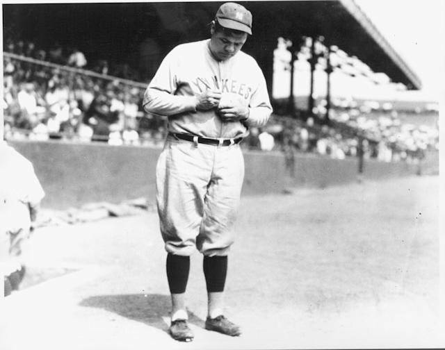 A game-worn Babe Ruth jersey sold on Saturday for more than a million dollars above the expected value. (Photo by Louis Van Oeyen/Western Reserve Historical Society/Getty Images).