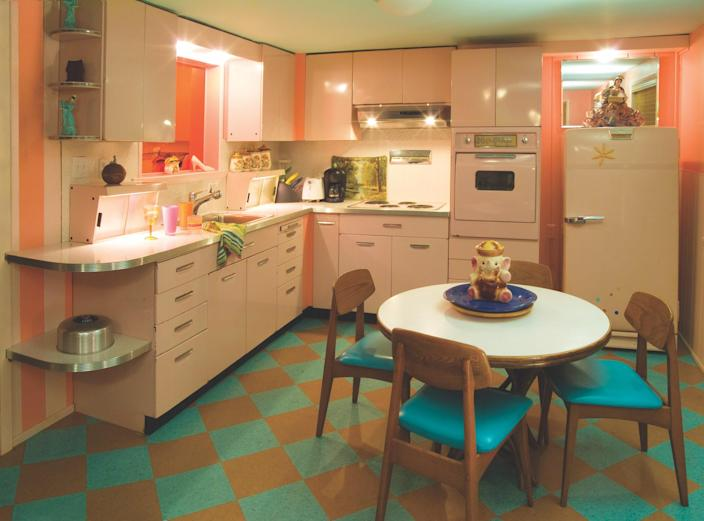 """<div class=""""caption""""> The retro kitchen in a suite at Kate's Lazy Meadow. </div> <cite class=""""credit"""">Photo: Michael Hnatov Photography</cite>"""