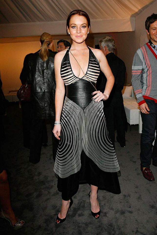 """Lindsay Lohan goes bold in a black and gold print. Donato Sardella/<a href=""""http://www.wireimage.com"""" target=""""new"""">WireImage.com</a> - February 13, 2008"""