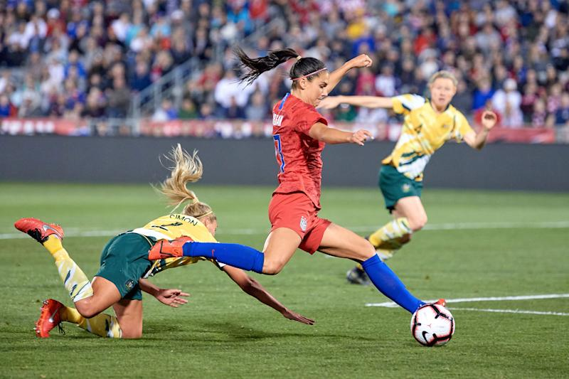 Morgan, during the game in which she scored her 100th career international goal this past April. | Getty Images