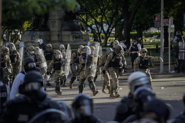Law enforcement responds during a protest in Washington, D.C., ahead of President Trump's visit to St. John's Church on June 1. (Drew Angerer/Getty Images)
