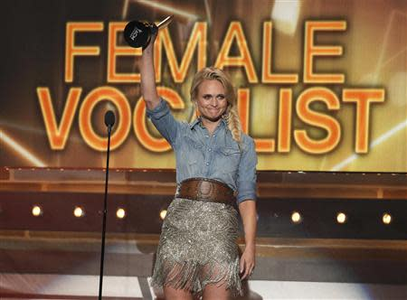Miranda Lambert accepts the award for female vocalist of the year at the 49th Annual Academy of Country Music Awards in Las Vegas