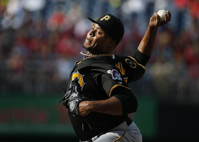 Pittsburgh Pirates starting pitcher Edinson Volquez throws during the first inning of a baseball game against the Washington Nationals, Sunday, Aug. 17, 2014, in Washington. (AP Photo/Alex Brandon)