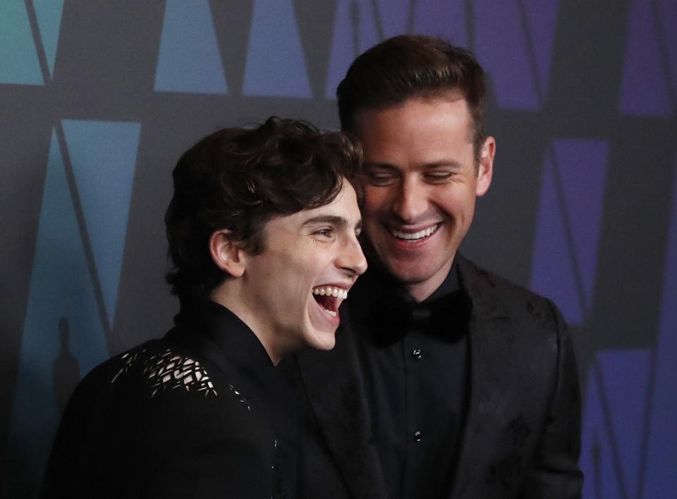 2018 Governors Awards - Arrivals - Hollywood, California, U.S., November 18, 2018 - Timothee Chalamet and Armie Hammer. REUTERS/Mario Anzuoni