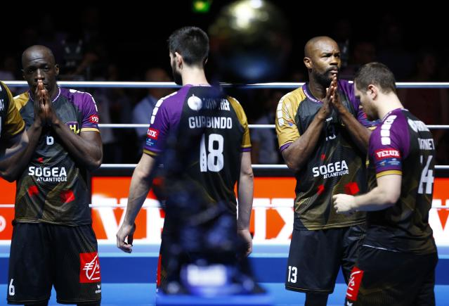 Handball - Men's EHF Champions League Final - HBC Nantes vs Montpellier HB - Lanxess Arena, Cologne, Germany - May 27, 2018. HBC Nantes players Guy Olivier Nyokas, Eduardo Gurbindo, Rock Feliho and Julian Emonet look dejected after losing the match. REUTERS/Thilo Schmuelgen