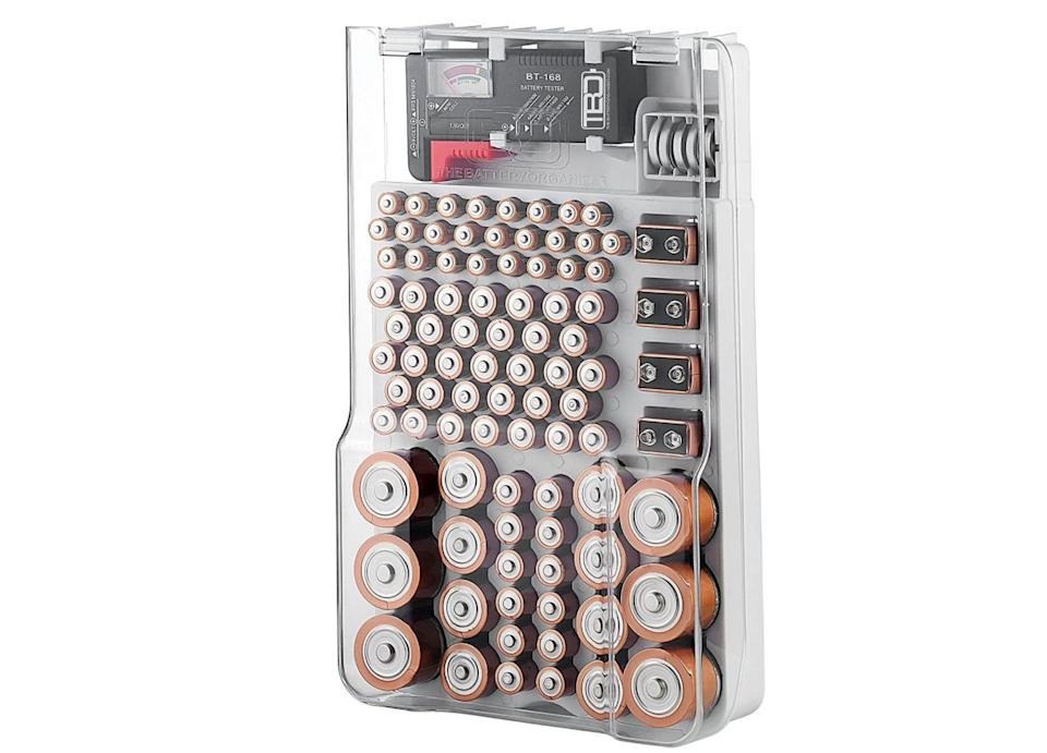 """You know that junk drawer in your kitchen that's littered with loose batteries? No more.<a href=""""https://amzn.to/32LUUh9"""" target=""""_blank"""" rel=""""nofollow noopener noreferrer"""">This (genius!) battery organizer</a>stores all of those loose batteries — up to 93 of them, to be exact. It also comes with a battery tester, so you can make sure the ones you're storing still have juice left.<a href=""""https://amzn.to/32LUUh9"""" target=""""_blank"""" rel=""""nofollow noopener noreferrer"""">Get it on Amazon</a>."""