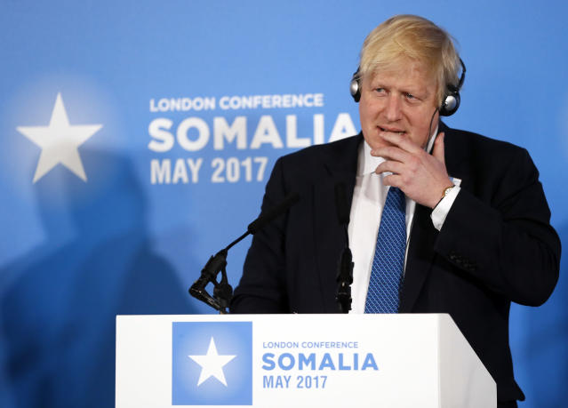 Britain's Foreign Secretary Boris Johnson listens to a translation during a press conference after the 2017 Somalia Conference at Lancaster House in London, Thursday, May 11, 2017. The Somalia Conference is aimed at improving stability and prosperity in Somalia and boosting the humanitarian response to the drought. (AP Photo/Kirsty Wigglesworth)