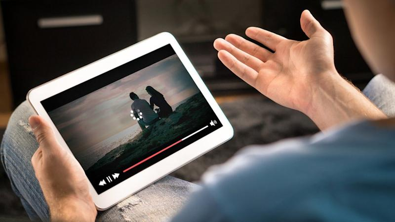 Tablet showing a film buffering