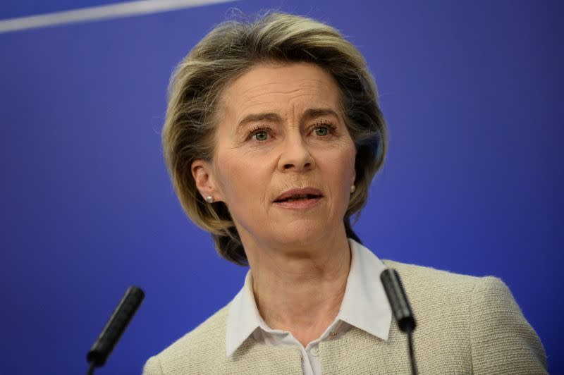 Commission President Ursula von der Leyen speaks during a news conference in Brussels