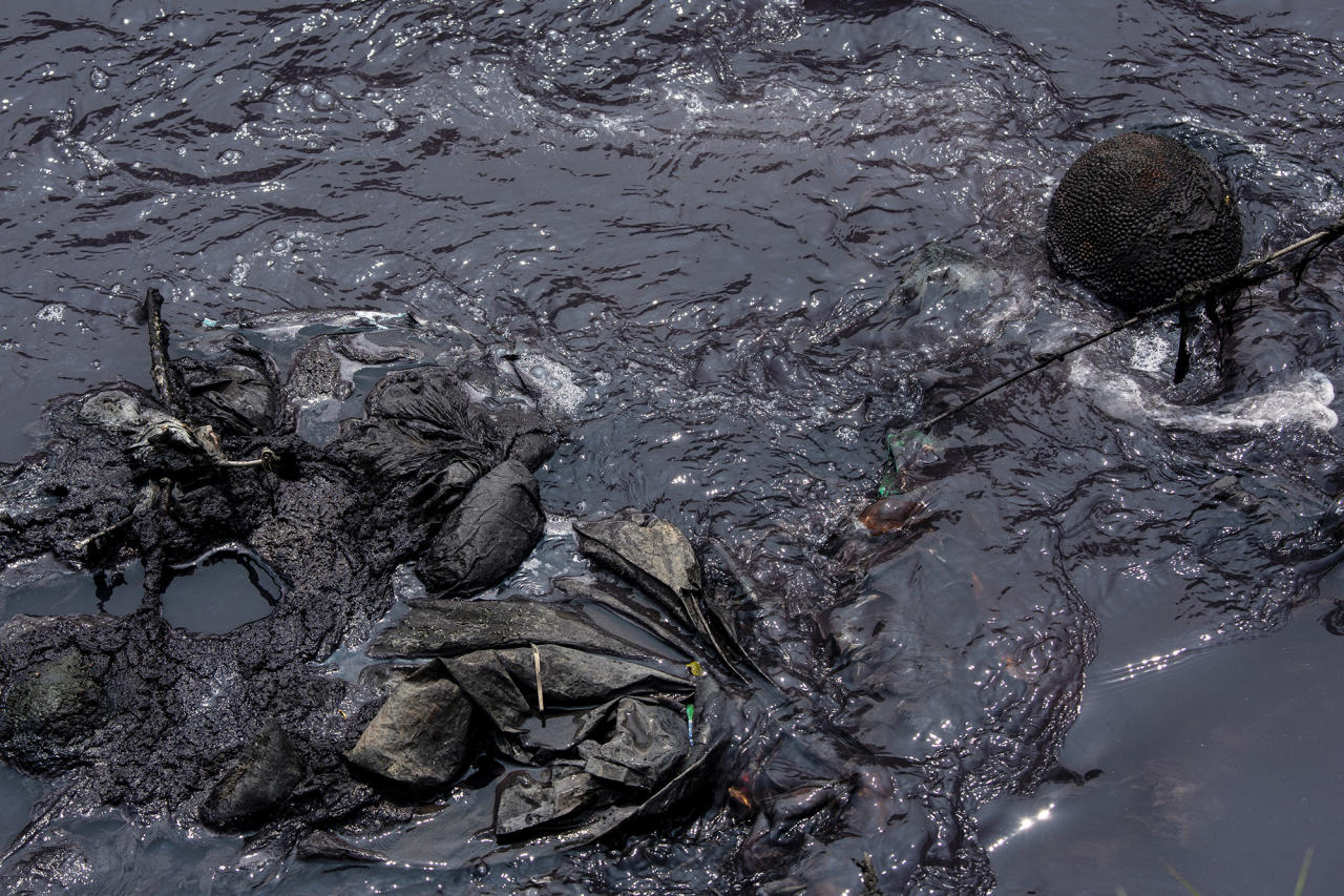 <p>Factory waste, including dyes from the many textile factories in the region, stain a jackfruit and discarded cloth on a tributary of the Citarum river on Aug. 27, 2018, outside Bandung, Java, Indonesia. (Photo: Ed Wray/Getty Images) </p>