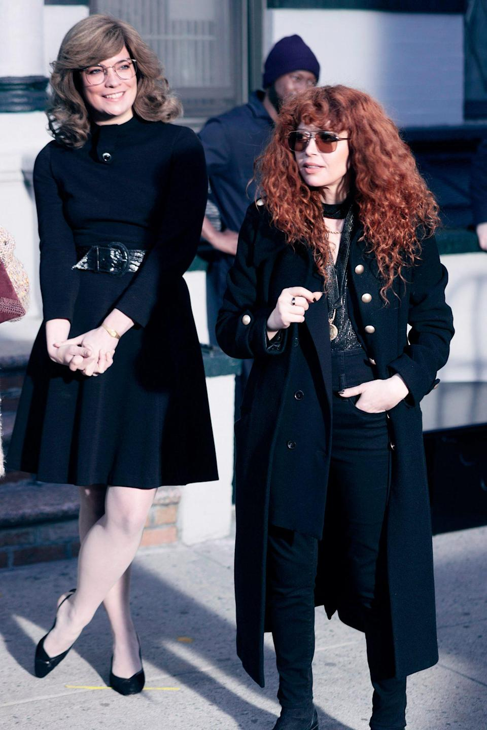 <p>Annie Murphy and Natasha Lyonne are seen on the set of <em>Russian Doll</em> on Monday in N.Y.C.</p>