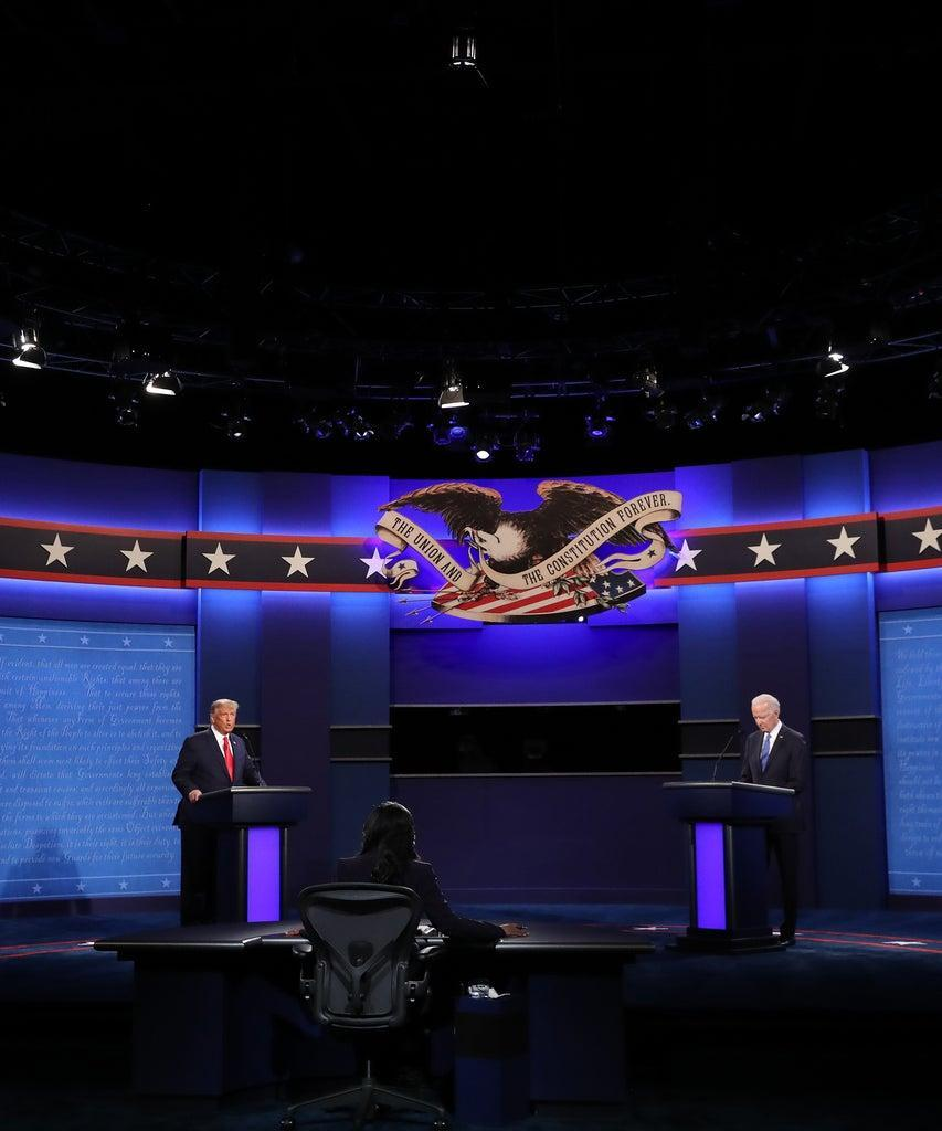 NASHVILLE, TENNESSEE – OCTOBER 22: U.S. President Donald Trump (L) and Democratic presidential nominee Joe Biden participate in the final presidential debate at Belmont University on October 22, 2020 in Nashville, Tennessee. This is the last debate between the two candidates before the election on November 3. (Photo by Chip Somodevilla/Getty Images)