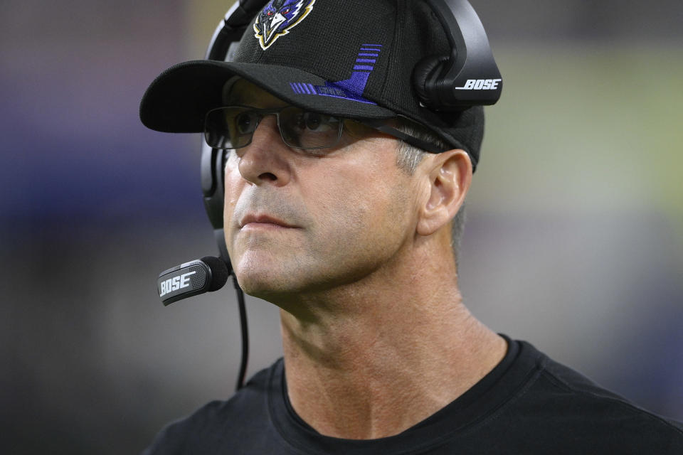 Baltimore Ravens head coach John Harbaugh walks on the sideline in the second half of an NFL football game against the Kansas City Chiefs, Sunday, Sept. 19, 2021, in Baltimore. (AP Photo/Nick Wass)