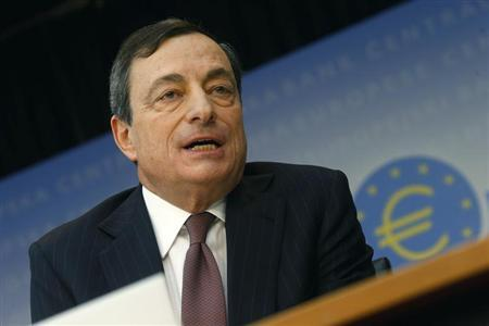 European Central Bank President Mario Draghi attends the monthly ECB news conference in Frankfurt
