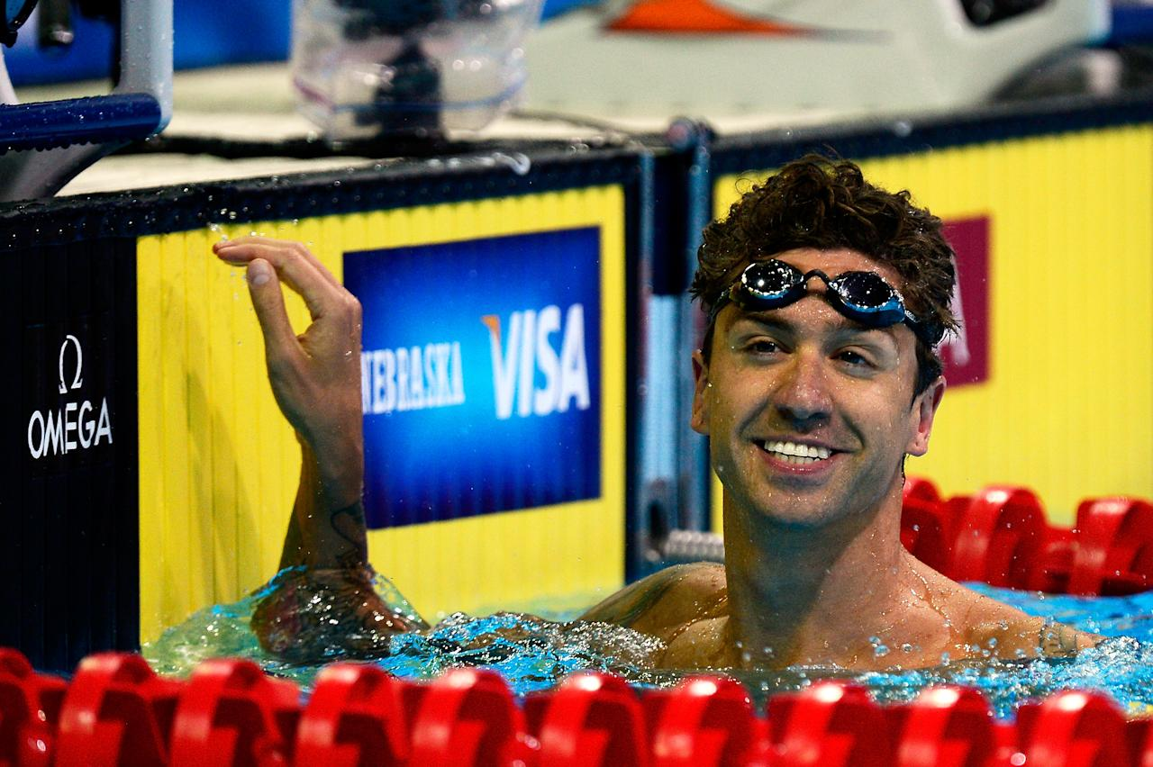 OMAHA, NE - JULY 01:  Anthony Ervin reacts after he competed in the championship final of the Men's 50 m Freestyle during Day Seven of the 2012 U.S. Olympic Swimming Team Trials at CenturyLink Center on July 1, 2012 in Omaha, Nebraska.  (Photo by Jamie Squire/Getty Images)