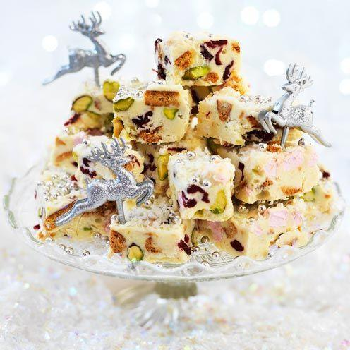 """<p>These rocky bites have the delicious combination of white chocolate and coconut.</p><p><strong>Recipe: <a href=""""https://www.goodhousekeeping.com/uk/food/recipes/a535188/snowy-rocky-road/"""" rel=""""nofollow noopener"""" target=""""_blank"""" data-ylk=""""slk:Snowy rocky road"""" class=""""link rapid-noclick-resp"""">Snowy rocky road</a></strong></p>"""