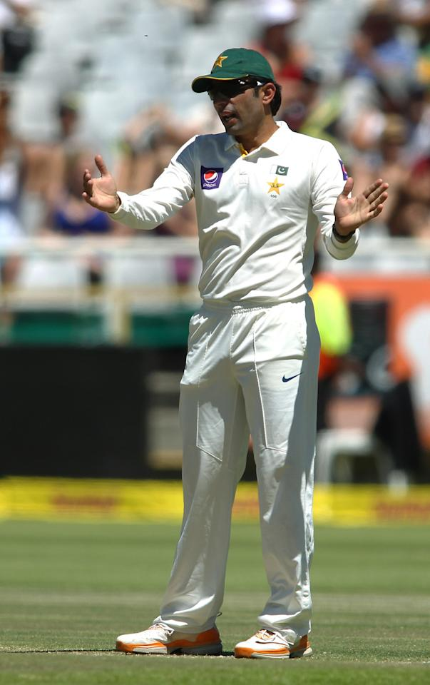 CAPE TOWN, SOUTH AFRICA - FEBRUARY 16:  Pakistan captain Misbah-ul-Haq gestures during day 3 of the 2nd Sunfoil Test match between South Africa and Pakistan at Sahara Park Newlands on February 16, 2013 in Cape Town, South Africa. (Photo by Shaun Roy/Gallo Images/Getty Images)