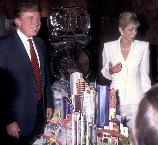 Donald Trump and Marla Maples attend his 50th birthday party in 1996. (Photo by Ron Galella/WireImage)