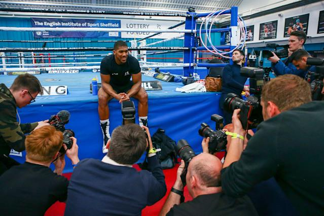 British boxer Anthony Joshua poses for photographers ahead of his fight against Andy Ruiz Jr. (AP)