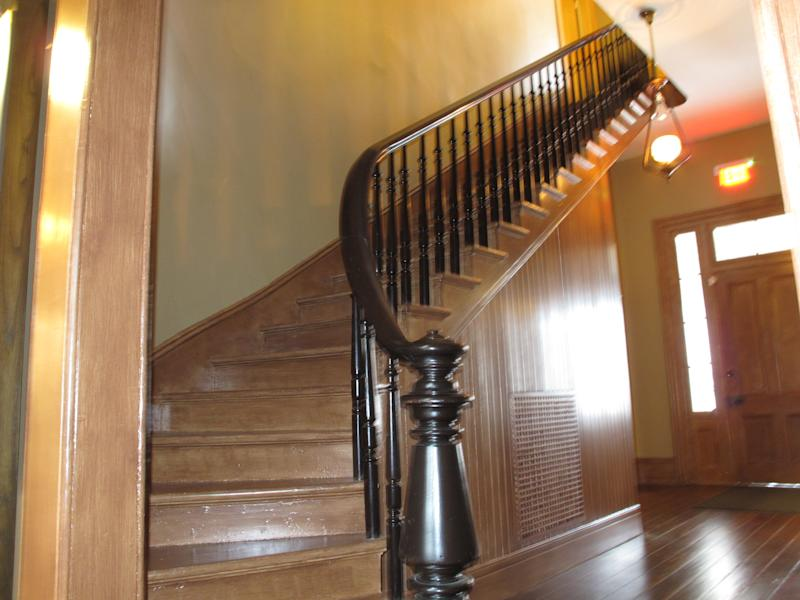 The renovated staircase at former President Woodrow Wilson boyhood house is shown on Monday, Feb. 10, 2014, in Columbia, S.C. Historic Columbia helped renovate the home where Wilson lived when he was a teen.(AP Photo/Jeffrey Collins)