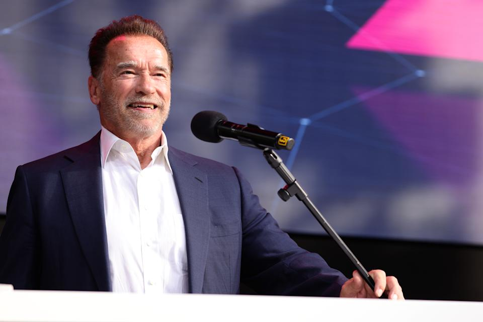 COLOGNE, GERMANY - SEPTEMBER 07: Arnold Schwarzenegger speaks in his keynote about digital sustainability during the Digital X event on September 07, 2021 in Cologne, Germany. More than 200 national and international top speakers - experts, visionaries, politicians, entrepreneurs, opinion leaders and critical voices - take part to discuss in two days of a full digitisation programme. (Photo by Andreas Rentz/Getty Images)