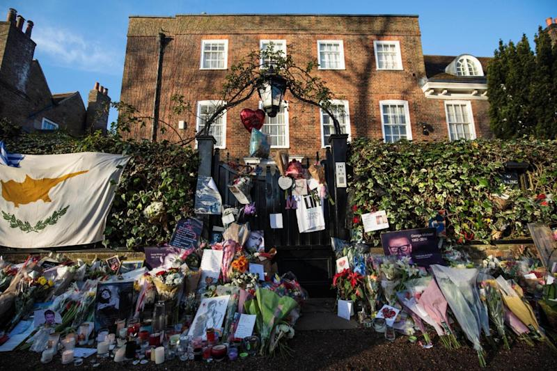 Tributes outside his Highgate home (Getty Images)