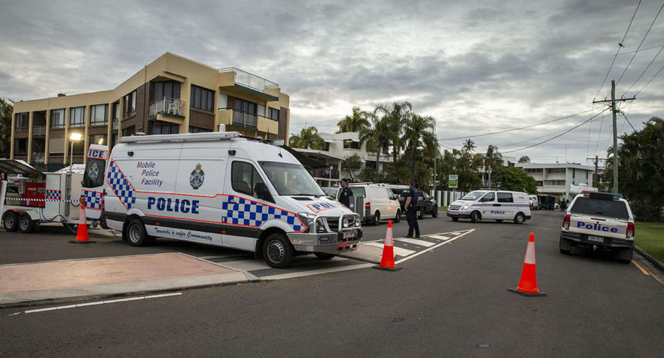 Police at the scene of a police operation at Alexandra Heads on Saturday. Source: AAP