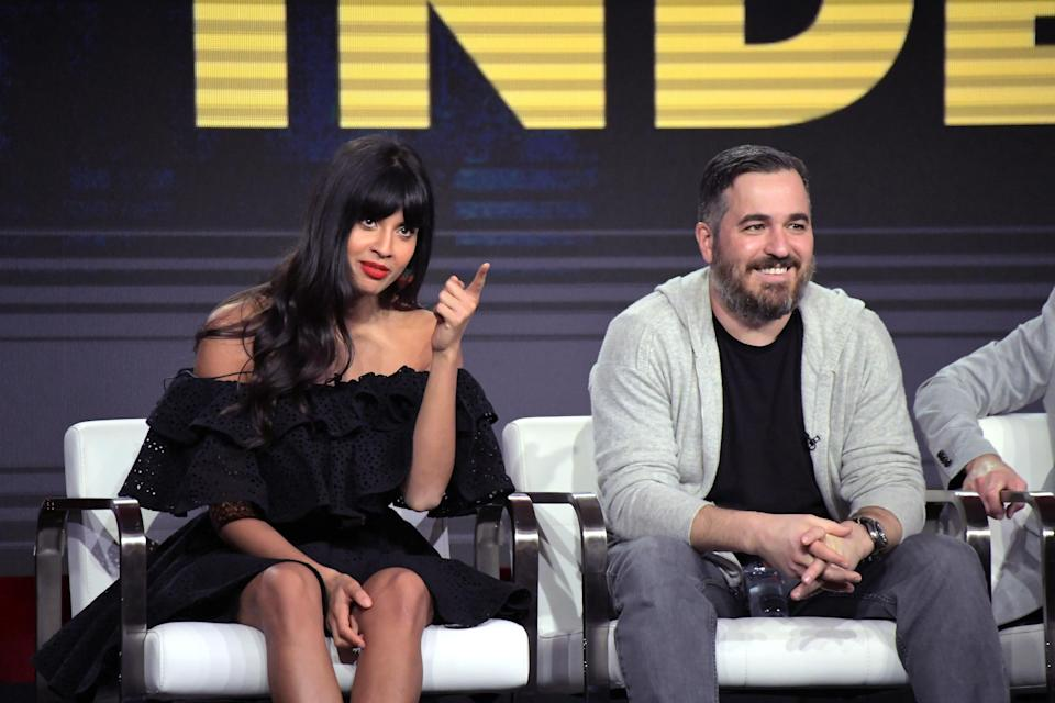 Jameela Jamil and Brian Quinn of <em>The Misery Index</em> speak onstage during the TBS portion of the TCA Turner Winter Press Tour 2019 Presentation in February, in Pasadena, Calif. (Photo: Charley Gallay/Getty Images for Turner)