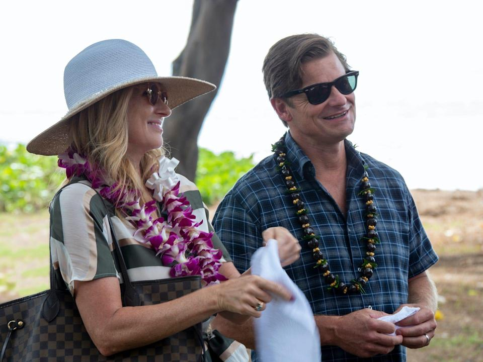 """Wealthy spouses and parents Nicole (Connie Britton), left, and Mark (Steve Zahn), appear to have it all, but their stay at a Hawaiian resort reveals cracks in the perfect facade in HBO's """"The White Lotus."""""""
