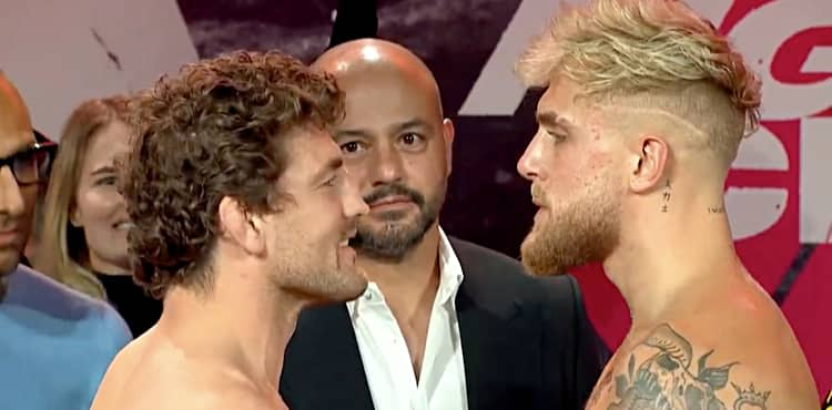 Ben Askren vs Jake Paul weigh-in face-off
