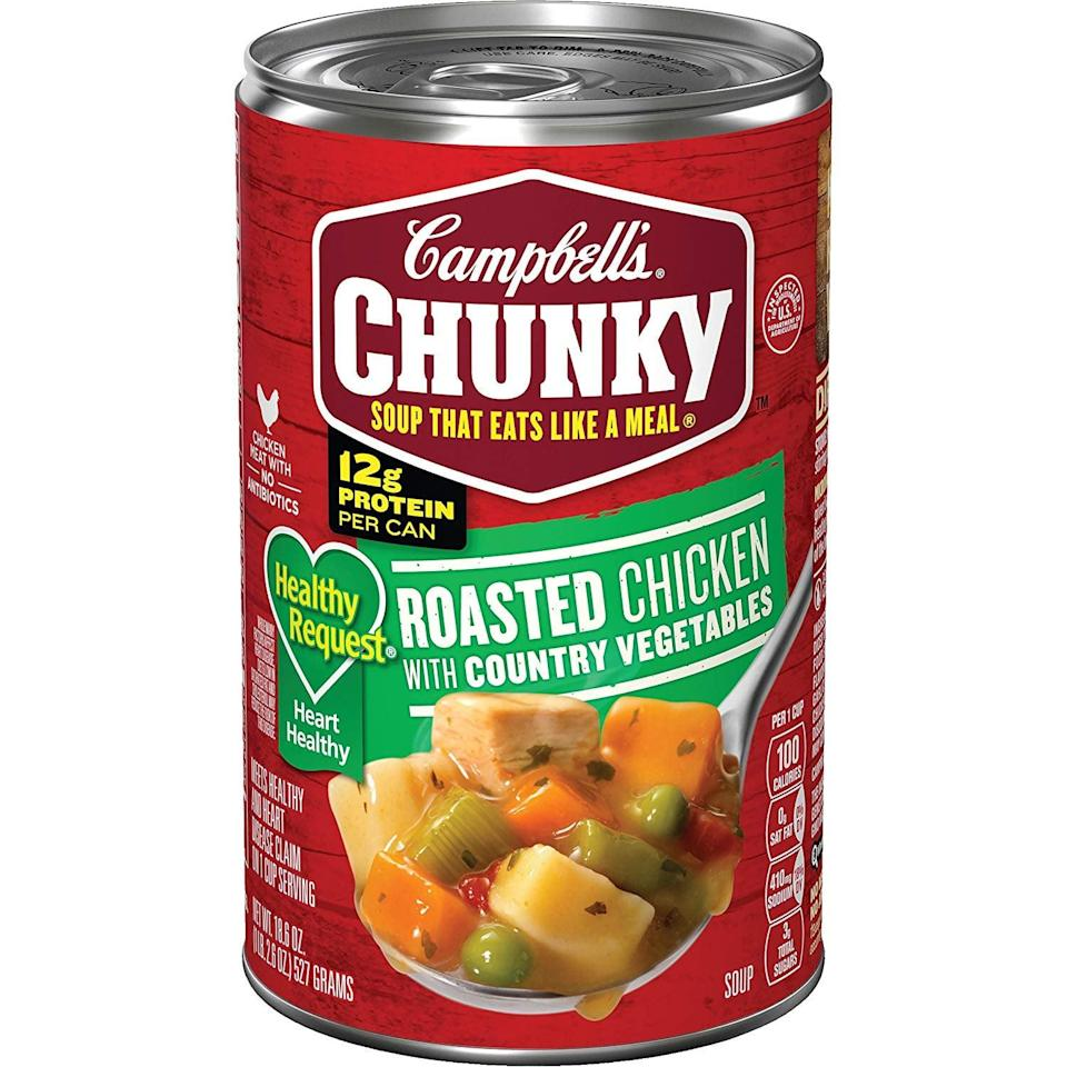 <p>We can't deny this <span>Campbell's Chunky Healthy Request Roasted Chicken With Country Vegetables Soup</span> ($31 for 12) is perfect for a chilly day. It contains 12 grams of protein, making it great for a preworkout snack.</p>