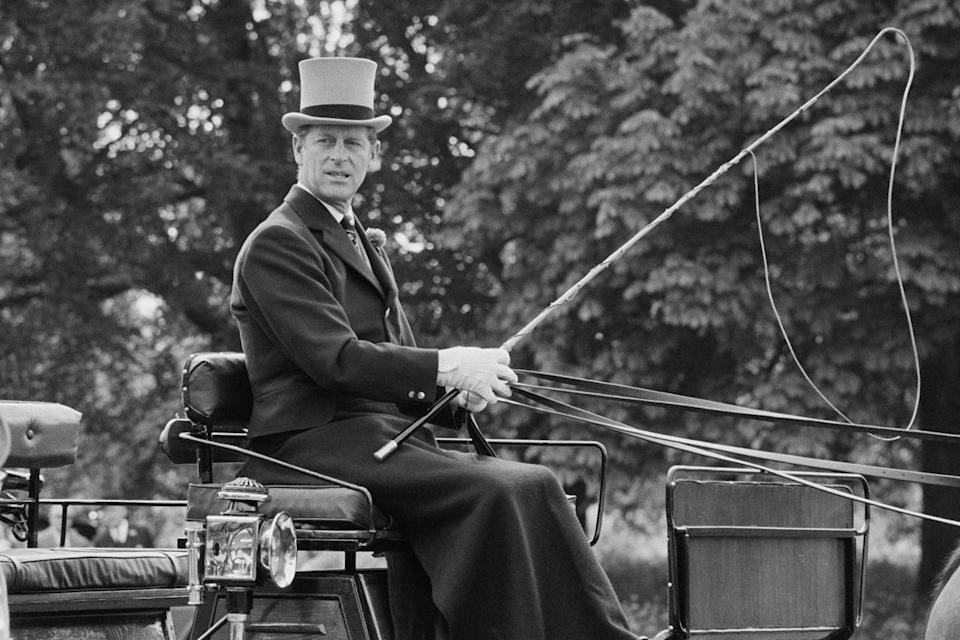 Prince Philip driving a carriage, UK, 28th May 1975Getty Images