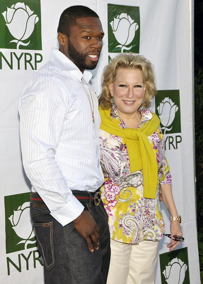 "<p class=""MsoNoSpacing"">What could a rapper who's been shot nine times have in common with an Academy award-winning actress who's 30 years his senior? How about the environment! 50 Cent and Bette Midler bonded in 2009 over their shared love of restoring local parks and gardens in NYC when he volunteered to be a part her charity, New York Restoration Project. ""He is such a gorgeous star, holy cow!"" Midler gushed at the event. During her speech, she thanked 50 because he had ""really made my life worth living. [He] has been with me through thick and thin."" And the feeling is clearly mutual. ""Look how beautiful things are and how nice it feels when [I'm around her],"" he said. ""Me and Bette [collaborating] would be really hot, but I'd need to make something new for her.""</p>"