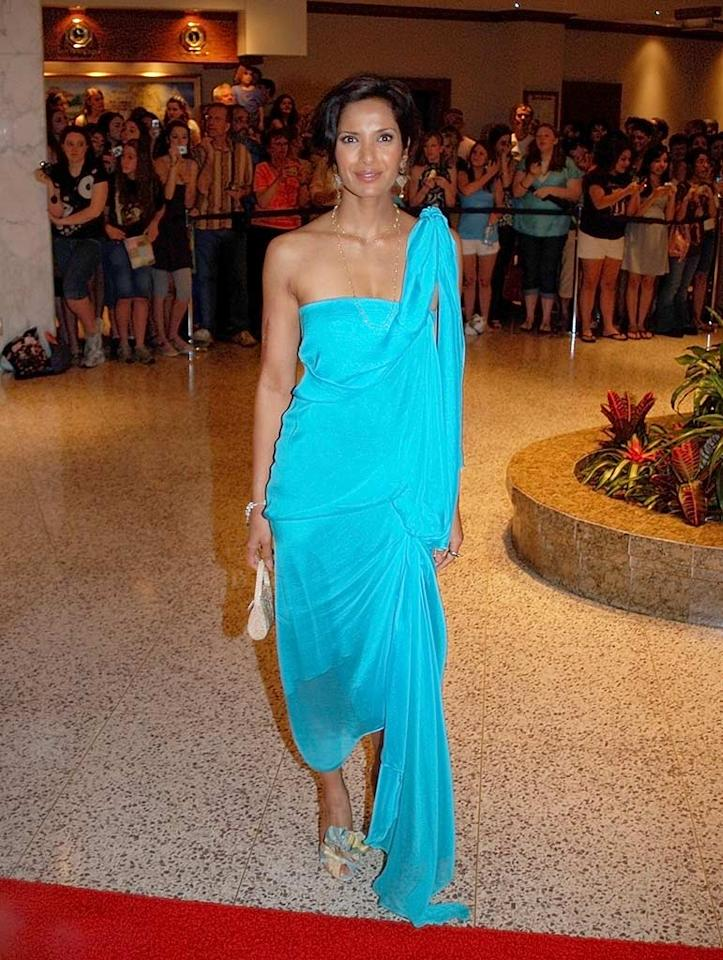 "Padma Lakshmi's aqua goddess gown was a refreshing change in the sea of black and white. Gene Young/<a href=""http://www.splashnewsonline.com"" target=""new"">Splash News</a> - April 26, 2008"