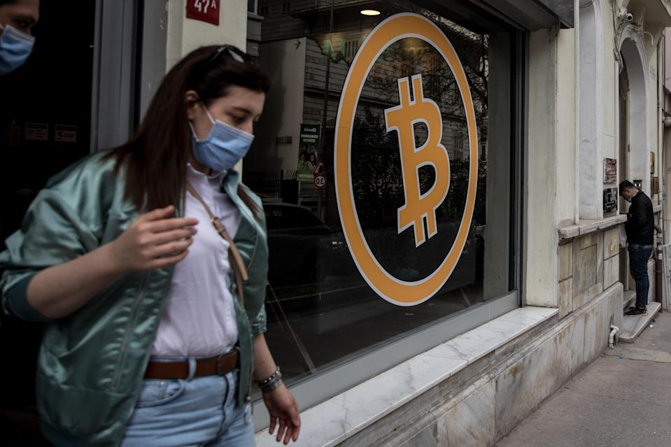 People leaving a cryptocurrency exchange office, Istanbul, Turkey (Getty Images)