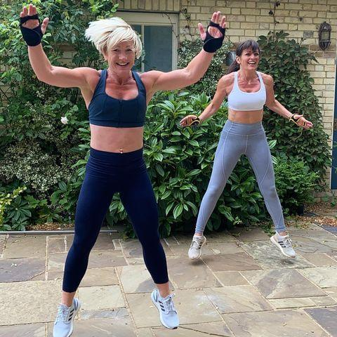 """<p>Trainer Sarah Gorman and Davina have worked out together for years, doing everything from <a href=""""https://www.womenshealthmag.com/uk/fitness/workouts/a34582084/barre/"""" rel=""""nofollow noopener"""" target=""""_blank"""" data-ylk=""""slk:Barre"""" class=""""link rapid-noclick-resp"""">Barre</a> to <a href=""""https://www.youtube.com/watch?v=YQvHpJpOeFk&t=1s"""" rel=""""nofollow noopener"""" target=""""_blank"""" data-ylk=""""slk:cardio and strength workouts"""" class=""""link rapid-noclick-resp"""">cardio and strength workouts</a>. Sarah's one of the <a href=""""https://www.womenshealthmag.com/uk/fitness/a706554/davina-mccall-fitness/"""" rel=""""nofollow noopener"""" target=""""_blank"""" data-ylk=""""slk:Own Your Goals"""" class=""""link rapid-noclick-resp"""">Own Your Goals</a> trainers, too, which means her workouts are open to everyone! </p><p>Workout with Sarah and Davina, doing their 20-minute <a href=""""https://www.womenshealthmag.com/uk/fitness/workouts/a33889595/davina-mccall-full-body-workout/"""" rel=""""nofollow noopener"""" target=""""_blank"""" data-ylk=""""slk:full-body workout"""" class=""""link rapid-noclick-resp"""">full-body workout</a> that combines cardio exercises with strength training moves. </p><p><a href=""""https://www.instagram.com/p/CBGHSeclLMI/"""" rel=""""nofollow noopener"""" target=""""_blank"""" data-ylk=""""slk:See the original post on Instagram"""" class=""""link rapid-noclick-resp"""">See the original post on Instagram</a></p>"""