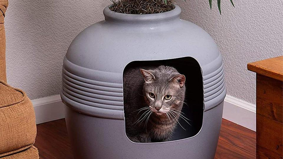 Customers adore this hidden litter box for its inconspicuous, yet unique design.