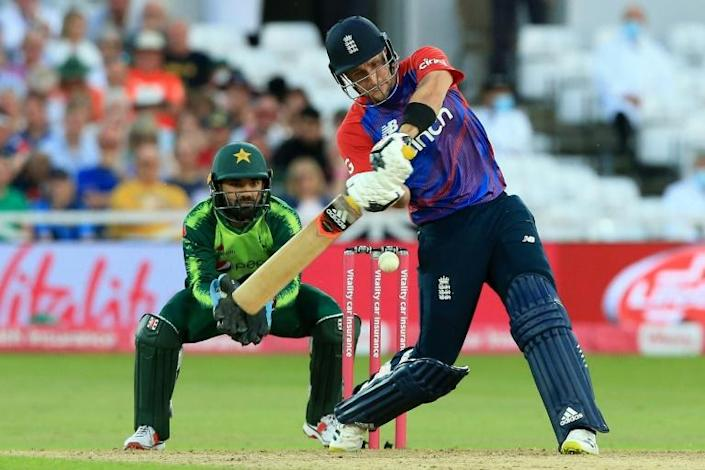 Six appeal - England's Liam Livingstone clears the ropes during a hundred against Pakistan in the 1st T20 at Trent Bridge on Friday