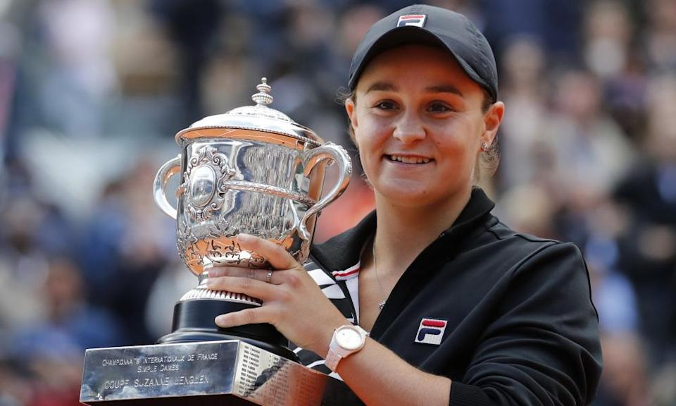 Ashleigh Barty with the trophy after winning the French Open in 2019, a title she opted not to defend this year.