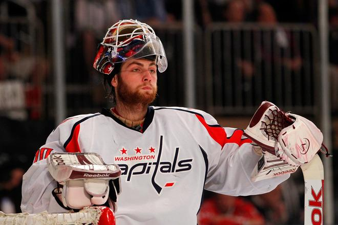 NEW YORK, NY - MAY 12:  Goalie Braden Holtby #70 of the Washington Capitals looks on in the second dperiod against the New York Rangers in Game Seven of the Eastern Conference Semifinals during the 2012 NHL Stanley Cup Playoffs at Madison Square Garden on May 12, 2012 in New York City.  (Photo by Paul Bereswill/Getty Images)