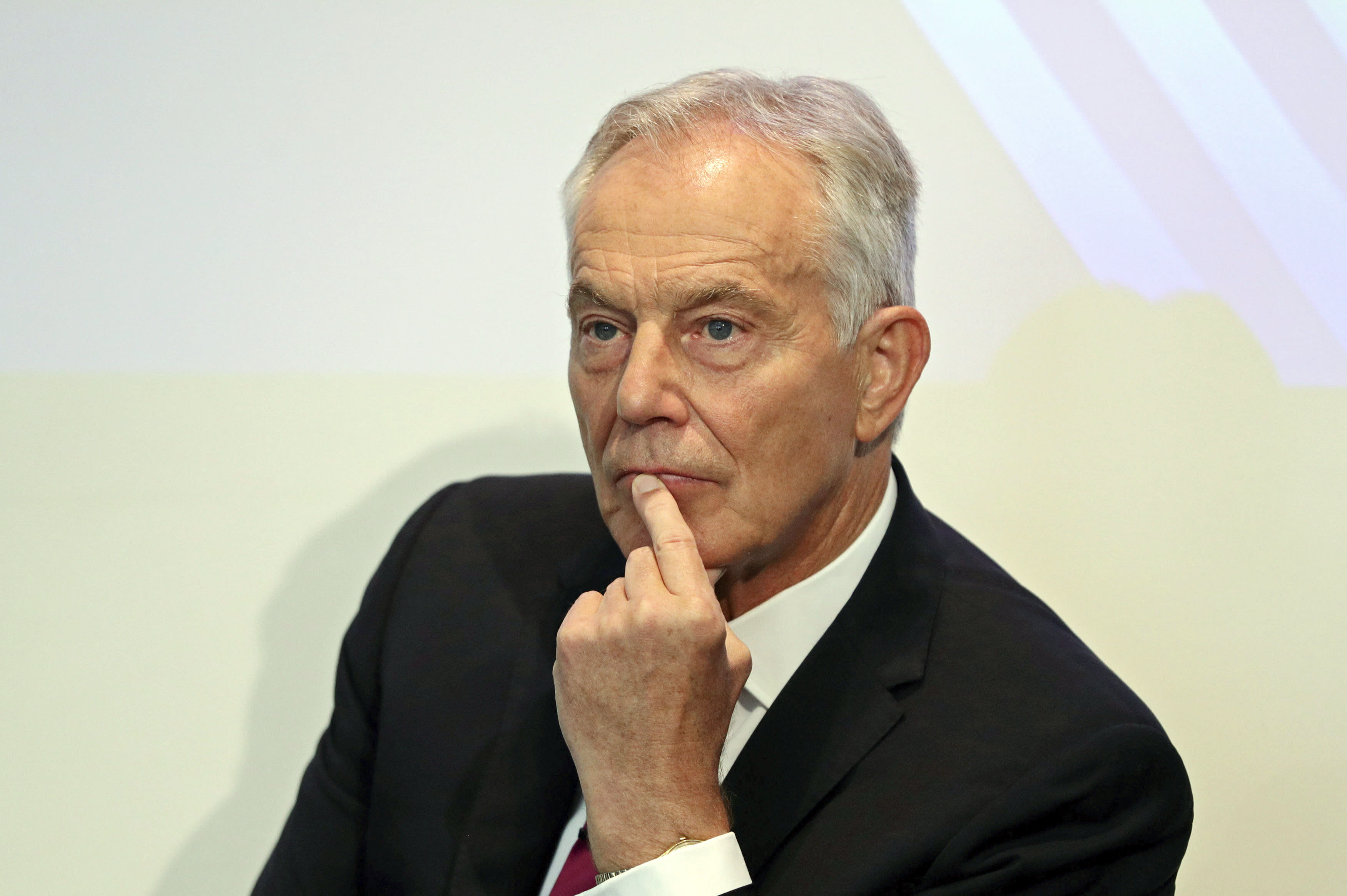 Former British prime minister Tony Blair gives a speech at the Institute for Government in central London, Monday Sept. 2, 2019. Tony Blair warned that politicians face a critical juncture in history as they prepare to consider legislation meant to prevent the country from leaving the European Union without a deal. (Aaron Chown/Pool via AP)
