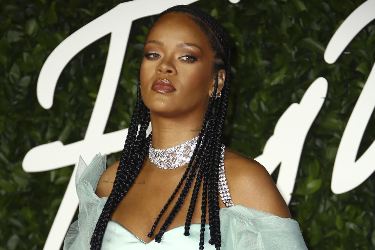 Rihanna's latest fashion show featured white models with their hair in braids. (AP)