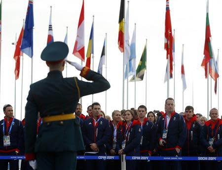 Members of the British Olympic Team attend a welcoming ceremony for the team in the Athletes Village, at the Olympic Park ahead of the 2014 Winter Olympic Games in Sochi