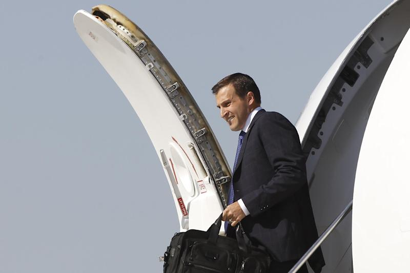 "FILE – In this Aug. 7, 2012, file photo Spencer Zwick, national finance chair for Republican presidential candidate and former Massachusetts Gov. Mitt Romney, steps off his charter plane in Chicago before joining Romney at a campaign event in Elk Grove Village, Ill. About the 2016 presidential campaign, Zwick said in a recent interview, ""I hope someone else is successful at raising money. I don't know that they're going to be able to pull together the resources that Mitt was able to."" ""We built an interesting network of people. A lot of them would be inclined to get involved again."" And he said, ""I would love to be heavily involved."" New Jersey Gov. Chris Christie recently met privately with Zwick in Boston. (AP Photo/Charles Dharapak, File)"