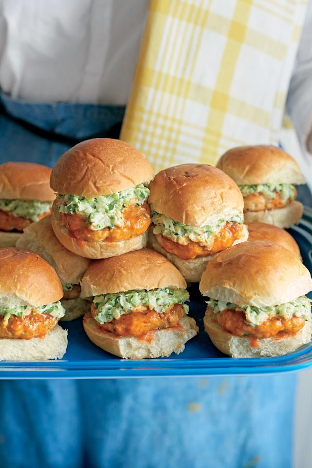 "<p>One reason we love a slider? Its small size means you can have more than one! These hot mini sandwiches are perfect for game day, or any day.</p> <ul><li>Recipe: <a href=""http://www.myrecipes.com/recipe/buffalo-chicken-sliders-celery-ranch-slaw"">Buffalo Chicken Sliders with Celery-Ranch Slaw</a></li> </ul>"