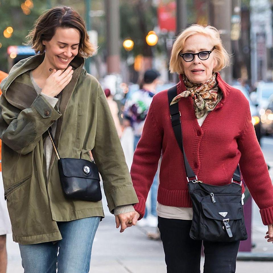 """<p><strong>Age gap:</strong> 32 years </p><p>Sarah, 41, and Holland, 73, started dating in 2015 and went public the next year. """"What I can say absolutely is that I am in love, and that person happens to be Holland Taylor,"""" Sarah told <a href=""""https://www.etonline.com/news/183603_sarah_paulson_says_she_absolutely_love_with_holland_taylor"""" rel=""""nofollow noopener"""" target=""""_blank"""" data-ylk=""""slk:ET"""" class=""""link rapid-noclick-resp"""">ET</a> in 2016.</p>"""
