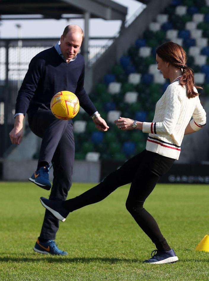 <p>Prince William joined in on the fun, proving he could keep up with his sporty wife. </p>